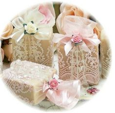 Romanticos jabones - lace bags with ribbon tie
