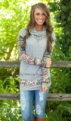 The Pink Lily Boutique - The Way It Should Be Aztec Sleeve Blouse, $39.00 (http://thepinklilyboutique.com/the-way-it-should-be-aztec-sleeve-blouse/)
