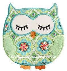 Sleeping Owl Applique Design - Applique Cafe                                                                                                                                                      More