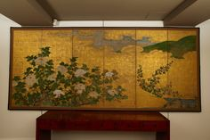 Six Panel Japanese Screen With Peonies | From a unique collection of antique and modern paintings and screens at http://www.1stdibs.com/furniture/asian-art-furniture/paintings-screens/