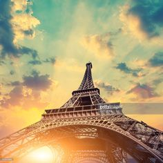Eiffel Tower in the sunset, Paris, France