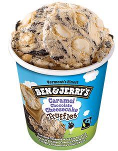 Caramel Cheesecake Ice Cream with Graham Cracker-Covered Cheesecake Truffles & Chocolate Cookie Swirls Cheesecake Ice Cream, Caramel Cheesecake, Chocolate Cheesecake, Ben Et Jerrys, Ice Cream Flavors List, Chocolates, Chocolate Caramels, Chocolate Ice Cream, Ben And Jerrys Ice Cream