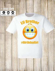 Emoji iron on transfers Emoji Little Brother of the Birthday Girl iron on transfer Emoji Birthday Party Shirt. by Lollypopdigitalstore on Etsy Brother Birthday, Girl Birthday, Birthday Ideas, Girl Emoji, Smile Design, T Shirt Transfers, Iron On Transfer, Party Shirts, Personalized T Shirts