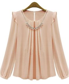 Pink Long Sleeve Rhinestone Loose Chiffon Blouse pictures