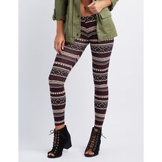 Charlotte Russe Printed Stretch Cotton Leggings ($13) ❤ liked on Polyvore featuring pants, leggings, burgundy cmb, legging pants, cotton stretch leggings, burgundy leggings, cotton stretch pants and tribal print trousers
