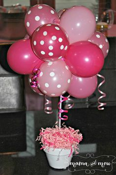 Pink and Polka Dots balloon topiary in a pot it's a great look for a table centrepiece for girls parties or baby showers. You can also do blue or green for boy baby showers. Balloon Topiary, Balloon Centerpieces, Balloon Decorations, Baby Shower Decorations, Shower Centerpieces, Balloon Ideas, Balloon Basket, Balloon Party, Table Decorations