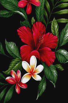 'Uhene - Barkcloth Hawaii Fabrics - Vintage Style Hawaiian Fabrics hibiscus, plumeria & hibiscus on cotton apparel, fabric Hawaiian vintage style fabric Hawaiian Flower Drawing, Hawaiian Art, Hawaiian Tattoo, Flower Art, Hibiscus Flower Drawing, Vintage Hawaiian, Cactus Flower, Tropical Flowers, Hawaiian Flowers