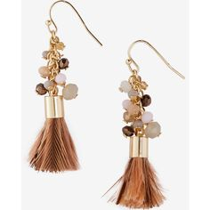 Express Beaded Cluster Feather Tassel Earrings ($20) ❤ liked on Polyvore featuring jewelry, earrings, brown, express earrings, brown earrings, earrings jewelry, beading earrings and beaded jewelry