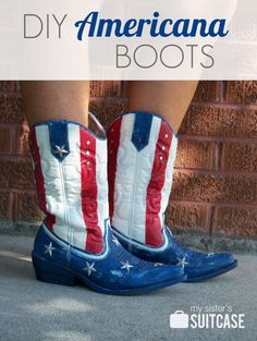 Patriotic Crafts | Turn regular cowboy boots into patriotic American flag boots with some paint! Perfect for Memorial Day and Fourth of July!