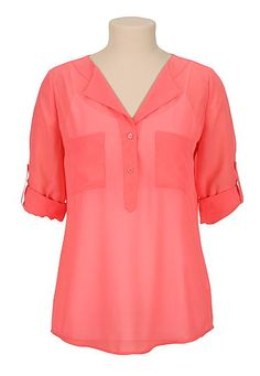 2 pocket chiffon pullover blouse (original price, $29) available at #Maurices