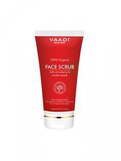 VAADI Strawberry Face Scrub (Jordbær, Morbær og Jojobaperler) 100% organiske ingredienser, 150 ml KAMPANJE