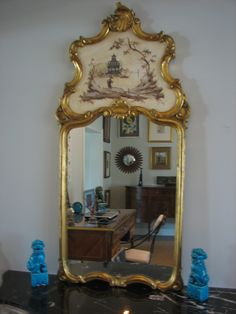 Chinoiserie Trumeau Mirror Vintage Italy