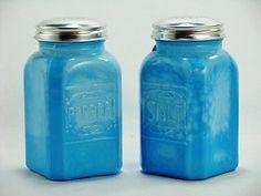 Blue Milk Glass Salt & Pepper Shakers