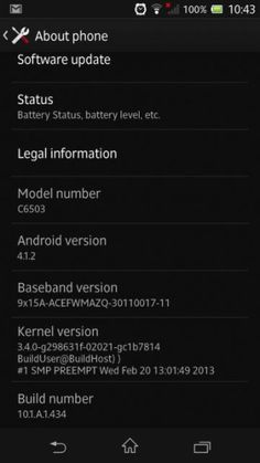 Xperia ZL Android 4.1.2 Jelly Bean 10.1.A.1.434 firmware update