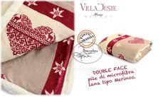 VILLA D ESTE coperta plaid 200x150 lana merinos double face Cuori (2301671)