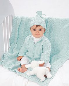 61 best knit crochet baby images on pinterest knitting patterns this cabled hat jacket and matching blanket is the perfect baby shower gift for loved ones shown in bernat cottontots fandeluxe Image collections