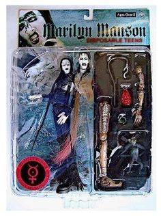 "Rare vintage Marilyn Manson ""Disposable Teens"" action figure."