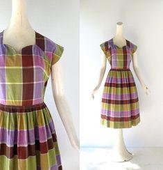 1950s Plaid Dress / Wine Harvest / 50s Dress by SmallEarthVintage
