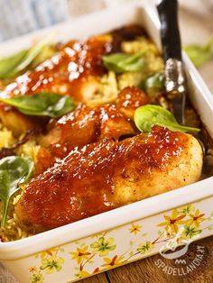 Chicken breasts in a sauce of onions and honey - I Petti di pollo in salsa di. Peru, Mexican Main Dishes, Bacon Wrapped Chicken Tenders, Oriental, Honey Sauce, Sticky Chicken, Chicken Recipes Video, Best Dinner Recipes, Chicken