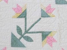 Lush Quilting Vintage Early 1900s Carolina Lily Pastel Quilt | eBay Vintageblessings
