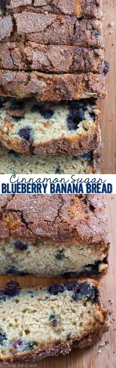Cinnamon Sugar Blueberry Banana Bread is a great way to use overripe bananas! Easy and foolproof this quick bread is full of blueberries and cinnamon sugar! I switched 1 cup of flour to almond flour and replaced the butter with 1 more banana! Blueberry Banana Bread, Blueberry Recipes, Banana Bread Recipes, Overripe Banana Recipes, Blueberry Breakfast, Just Desserts, Delicious Desserts, Dessert Recipes, Yummy Food