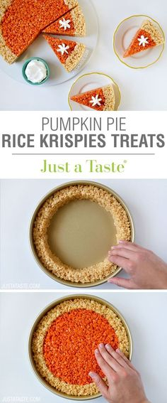 Pumpkin Pie Rice Krispies Treats recipe. A quick and easy holiday dessert recipe for Thanksgiving!