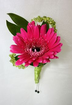 Hot Pink Gerber Daisy Boutonniere with Lime Green Accents - Very Hot colors this prom season