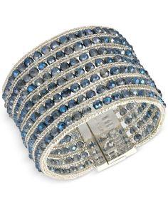 Kenneth Cole New York Silver-Tone Blue Crystal Multi-Row Bracelet