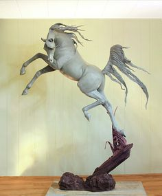 """Freedom Equine Sculpture Freedom from renowned international sculptor, J. Anne Butler shown here as a """"work in progress"""" will be cast in bronze. Freedom will enhance many situations private and corporate. This outstanding equine sculpture is currently offered at a special introductory price. Email the artist at JAnneButler@msn.com https://www.facebook.com/anne.butler.7374/videos/10153951967526709/ http://www.arabianhorsesculpture.com/coming-soon.html #JAnneButler #sculpture #equines"""