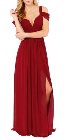 SheIn Women's Plain Off The Shoulder Maxi Party Evening Dress at Amazon Women's Clothing store: