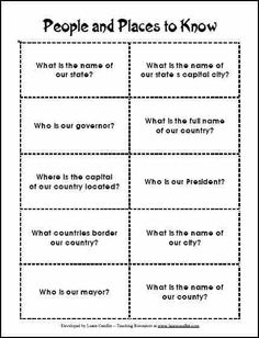 People and Places to Know freebie - Do your students know who the name of their mayor, president, or even their principal? What about their capital city and state? Have them research these facts and create study cards to learn them.