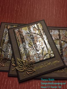 SU woodland TIEF, By Theresa Shields? Creative Cards, Handmade Thanksgiving Cards, Holiday Cards, Christmas Cards, Masculine Birthday Cards, Masculine Cards, Embossing Folder, Leaf Cards, Embossed Cards