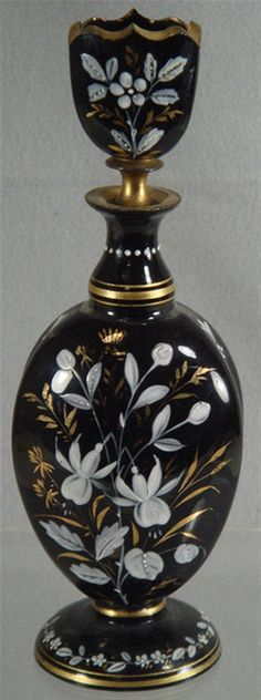 "Enameled Moser type amethyst glass scent bottle, 10"" tall"