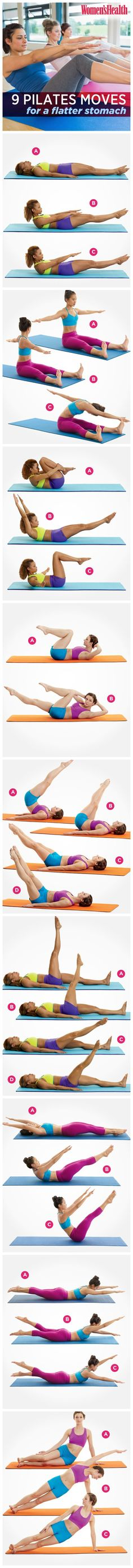 Bored with your abs workout? Try these 9 Pilates Moves For A Flatter Stomach. Pin now, check later.