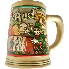 Erin Go Bud 1992 & 1993 Budweiser Ceramarte St. Patrick's Beer Steins Budweiser Steins, Irish Culture, Green Beer, Beer Company, Vintage Dolls, St Patrick, Brewery, Vintage Antiques, Pottery