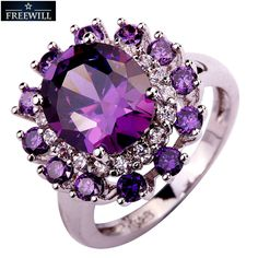 FREEWILL Wholesale Fancy Ova&Round Cut purple Amethyst&White Topaz Gems Women Jewelry Silver Plated Ring Size 8