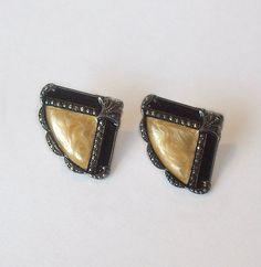 Vintage Fan Earrings Black and Cream Enamel by MargsMostlyVintage, $15.00