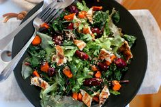 Not only is this salad delicious, colorful, seasonal, and perfect on a sunny evening for two – it's also good for you. The combination of beet and carrot is used to help women metabolize aggressive estrogen and boost the production