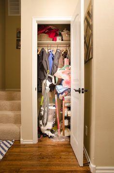 From Coat Closet to Cleaning Closet {Organizing in Style} - Polished Habitat Closet Redo, Closet Remodel, Closet Space, Closet Ideas, Small Coat Closet, Utility Closet, Small Closets, Coat Closet Organization, Storage Closets