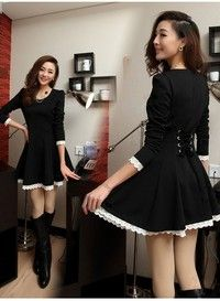 Elegant skater dress made of quality fabric, with lacing up detail to back which makes a shapely wai
