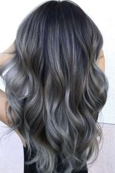 Hair Color For Grey Silver Charcoal hair is the new colour trend we've been waiting for! The smoky shade is both edgy and office appropriate.Charcoal hair is the new colour trend we've been waiting for! The smoky shade is both edgy and office appropriate. Ash Gray Balayage, Hair Color Balayage, Hair Highlights, Blonde Ombre, Grey Blonde, Haircolor, Color Highlights, Dark Hair Grey Highlights, Dark Ombre