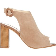 Barneys New York Women's Peep-Toe Ankle-Strap Sandals (€305) ❤ liked on Polyvore featuring shoes, sandals, heels, tan, tan suede shoes, high heels sandals, open toe sandals, high heeled footwear and tan heeled sandals