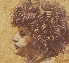 Leonardo da Vinci, 1452-1519, Italian, Study of a child's head. Red chalk heightened with white on paper. Musée des Beaux-Art, Caen. High Renaissance.