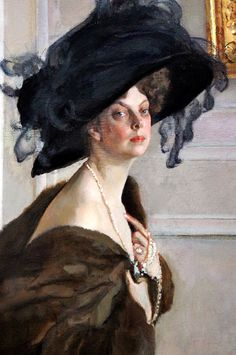 Princess Olga Orlova (detail), by Valentin Serov (Russian, Gods and Foolish Grandeur: Russian ladies, portraits by Serov Female Portrait, Portrait Art, Female Art, Russian Painting, Russian Art, Russian Ladies, Woman Painting, Figure Painting, Charlotte Brontë