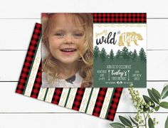 Young wild and three photo birthday invitation Lumberjack Photo Birthday Invitations, Birthday Cards, Printables, Unique Jewelry, Handmade Gifts, Frame, Etsy, Art, Bday Cards