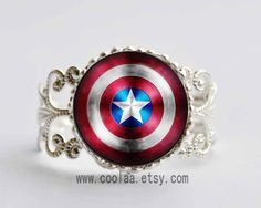 Captain America glass stone Adjustable Ring,the avengers superhero Adjustable Ring,Captain America Shield vintage Adjustable Ring on Etsy, $3.99
