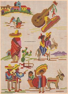 tacking the time: old-Mexico Graphics Mexican Embroidery, Vintage Embroidery, Embroidery Patterns, Cross Stitching, Cross Stitch Embroidery, Cross Stitch Designs, Cross Stitch Patterns, Stitch Doll, Mini Cross Stitch