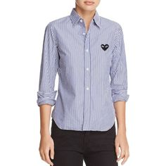 Comme Des Garcons Play Heart Striped Shirt ($285) ❤ liked on Polyvore featuring tops, navy stripe, play comme des garçons, workwear shirts, stripe shirt, stripe top and heart tops