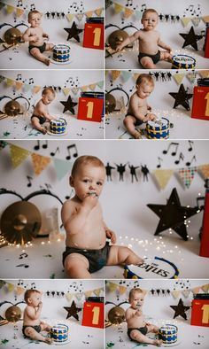 Interested in unique cake smash themes for your baby? Let Photographer Dana Marquart with Photogenics on Location capture your life's beautiful moments! Beatles Birthday Party, Baby Boy Birthday Themes, Music Theme Birthday, Boy First Birthday, Birthday Ideas, Baby Boy Messages, Rock And Roll Birthday, First Birthday Pictures, Cake Smash Photography