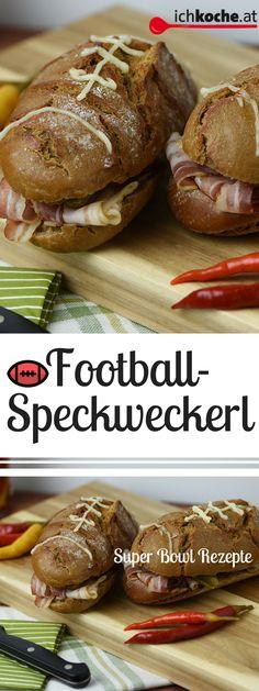 Mhh, deftig und gut - diese Football-Speckweckerl sind ein perfektes, schnelles Super Bowl-Rezept! Super Bowl Party, Snacks Für Party, Turkey, Meat, Food, Food Food, Peru, Beef, Meal